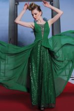 Scoop Sleeveless Floor Length Beading Dark Green Chiffon and Sequined