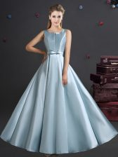 Straps Sleeveless Zipper Floor Length Bowknot Dama Dress for Quinceanera