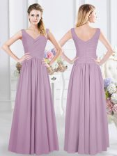 Floor Length Empire Sleeveless Lavender Quinceanera Court Dresses Zipper
