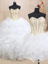 Trendy Three Piece Sleeveless Organza Floor Length Lace Up Ball Gown Prom Dress in White with Beading and Ruffles
