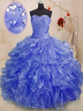 Sweetheart Sleeveless Lace Up Quinceanera Dresses Blue Organza
