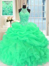 Fitting Scoop Sleeveless Beading and Pick Ups Floor Length Sweet 16 Dress