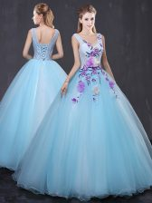 Light Blue Ball Gowns Tulle V-neck Sleeveless Lace and Appliques Floor Length Lace Up Sweet 16 Quinceanera Dress