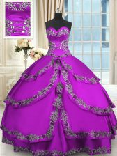 Purple Lace Up Quince Ball Gowns Beading and Embroidery and Ruffled Layers Sleeveless Floor Length