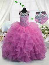 Glorious Fuchsia Lace Up Scoop Beading and Ruffled Layers Little Girls Pageant Dress Organza Sleeveless