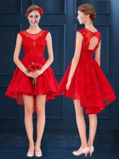 Inexpensive Red Lace Lace Up Scoop Sleeveless High Low Dama Dress Lace