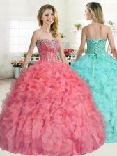 Beauteous Floor Length Watermelon Red Quinceanera Dresses Sweetheart Sleeveless Lace Up