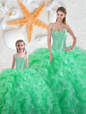 Apple Green Ball Gowns Sweetheart Sleeveless Organza Floor Length Lace Up Beading and Ruffles Sweet 16 Dress