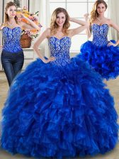 Three Piece Royal Blue Sweetheart Neckline Beading and Ruffles Sweet 16 Quinceanera Dress Sleeveless Lace Up