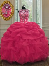 Scoop Coral Red Lace Up Quinceanera Dress Beading and Pick Ups Sleeveless Floor Length