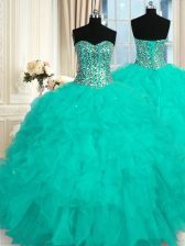High Class Aqua Blue Vestidos de Quinceanera Military Ball and Sweet 16 and Quinceanera with Beading and Ruffles Sweetheart Sleeveless Lace Up