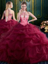 Exceptional Pick Ups Ball Gowns Quince Ball Gowns Wine Red Halter Top Tulle Sleeveless Floor Length Lace Up