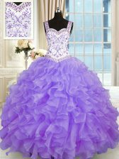 Best Beading and Appliques and Ruffles Quinceanera Gown Lavender Lace Up Sleeveless Floor Length