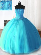Customized Sleeveless Lace Up Floor Length Beading and Appliques Quinceanera Gown