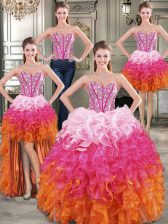 Inexpensive Four Piece Floor Length Ball Gowns Sleeveless Multi-color Sweet 16 Quinceanera Dress Lace Up