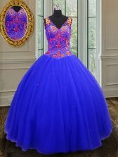 Chic Royal Blue Tulle Zipper V-neck Sleeveless Floor Length Quinceanera Gowns Beading and Sequins
