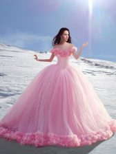Graceful Off the Shoulder Tulle Cap Sleeves Vestidos de Quinceanera Court Train and Hand Made Flower