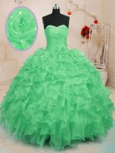 Beading and Ruffles and Hand Made Flower Sweet 16 Quinceanera Dress Green Lace Up Sleeveless Floor Length
