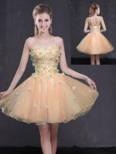 Peach Organza Lace Up Evening Dress Sleeveless Mini Length Appliques
