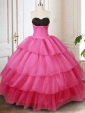 Discount Sleeveless Floor Length Beading and Ruffled Layers Lace Up Sweet 16 Dress with Hot Pink