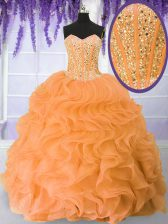 Orange Ball Gowns Beading and Ruffles Vestidos de Quinceanera Lace Up Organza Sleeveless Floor Length