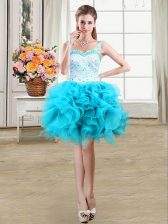 Straps Organza Sleeveless Mini Length Prom Party Dress and Beading and Lace and Ruffles