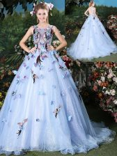Eye-catching Scoop Sleeveless Brush Train Appliques Lace Up Ball Gown Prom Dress