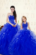Beautiful Sweetheart Sleeveless Organza Vestidos de Quinceanera Beading and Ruffles Lace Up
