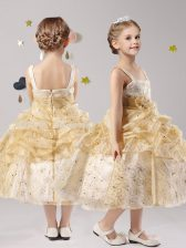 Affordable Straps Pick Ups and Hand Made Flower Flower Girl Dress Gold Zipper Sleeveless Tea Length