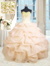 Luxurious Peach Sweetheart Neckline Beading and Ruffles Quinceanera Dresses Sleeveless Lace Up