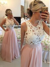 Baby Pink A-line Chiffon Scoop Sleeveless Beading Floor Length Zipper Prom Dresses