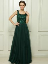 Custom Fit Dark Green Prom and Party with Beading Square Sleeveless Sweep Train Zipper