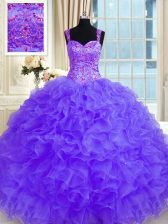 Custom Made Straps Long Sleeves Sweet 16 Quinceanera Dress Floor Length Beading and Embroidery and Ruffles Purple Organza