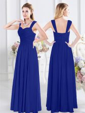Sexy Straps Royal Blue Sleeveless Chiffon Zipper Quinceanera Dama Dress for Prom and Party and Wedding Party