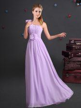 Gorgeous One Shoulder Lavender Chiffon Zipper Quinceanera Dama Dress Sleeveless Floor Length Ruching and Hand Made Flower