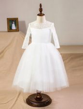 Enchanting Scoop Half Sleeves Clasp Handle Flower Girl Dresses for Less White Tulle