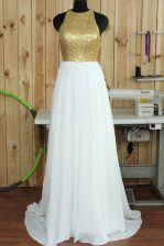 Nice Scoop Sleeveless Sequins Backless Dress for Prom with White Sweep Train