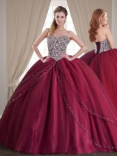 Brush Train Ball Gowns Sweet 16 Dress Burgundy Sweetheart Tulle Sleeveless With Train Lace Up
