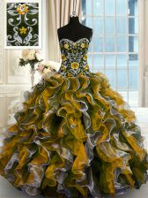 Floor Length Multi-color Quince Ball Gowns Organza Sleeveless Beading and Ruffles