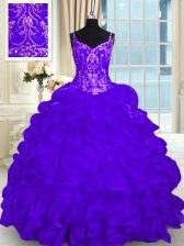 Purple Sweet 16 Dresses Organza Brush Train Sleeveless Beading and Embroidery and Ruffles and Pick Ups