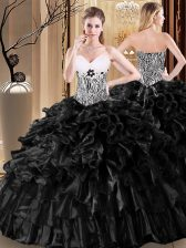 Free and Easy Black Sleeveless Organza Lace Up Sweet 16 Dresses for Military Ball and Sweet 16 and Quinceanera