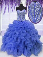 Sweetheart Sleeveless 15th Birthday Dress Floor Length Beading and Ruffles Royal Blue Organza