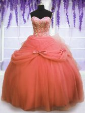 Fashionable Floor Length Watermelon Red 15 Quinceanera Dress Sweetheart Sleeveless Lace Up