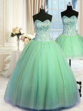 On Sale Three Piece Ball Gowns Beading Quinceanera Dress Lace Up Tulle Sleeveless Floor Length