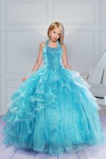 New Arrival Halter Top Aqua Blue Sleeveless Organza Lace Up Girls Pageant Dresses for Military Ball and Sweet 16 and Quinceanera