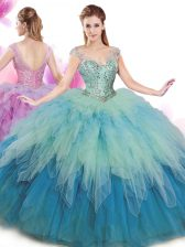 V-neck Cap Sleeves Vestidos de Quinceanera Floor Length Beading and Ruffles Multi-color Tulle
