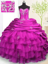 Most Popular Fuchsia Organza and Taffeta Lace Up Strapless Sleeveless With Train Sweet 16 Quinceanera Dress Brush Train Beading and Appliques and Ruffled Layers and Pick Ups