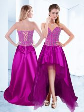 Comfortable Sweetheart Sleeveless Satin Prom Evening Gown Beading Lace Up