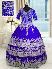 Satin and Tulle V-neck Half Sleeves Zipper Appliques and Ruffled Layers Vestidos de Quinceanera in Blue