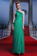 Turquoise Side Zipper One Shoulder Beading and Ruching Prom Gown Chiffon Sleeveless